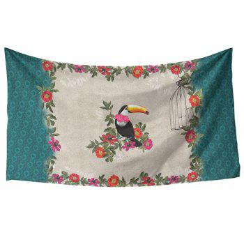 Fresh Style Vivid Creative Toucan and Flower Pattern Women's Rectangle Scarf