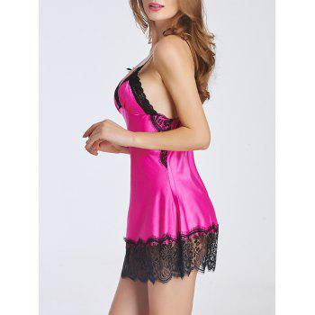 Charming Lace Splicing Backless Women's Babydoll - L L