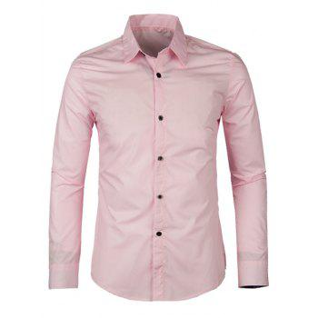 Solid Color Long Sleeve Turn-down Collar Men's Shirt