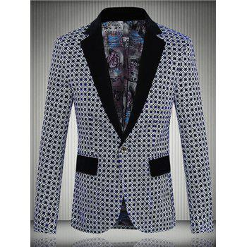 Geometric Pattern One-Button Lapel Men's Long Sleeve Blazer