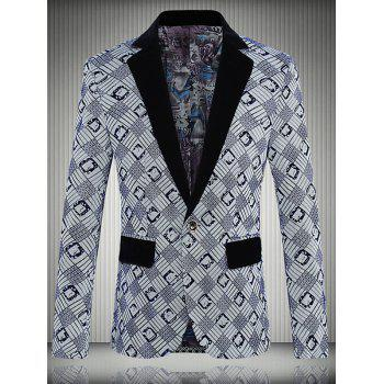 Geometric Printed One-Button Lapel Men's Long Sleeve Blazer