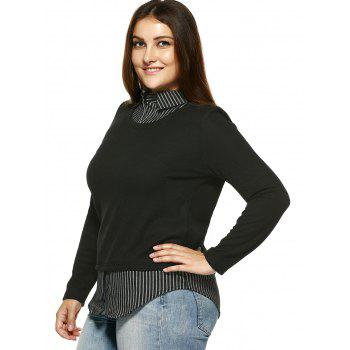 Plus Size Vintage Faux Twinset Stripe Top - Noir XL