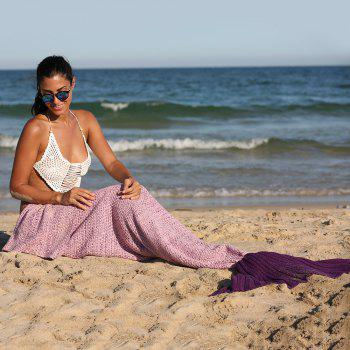 Fashionable Ombre Color Knitting Mermaid Shape Blanket
