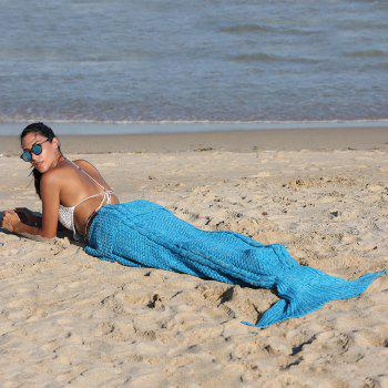 Chic Quality Blue Crochet Knitting Mermaid Tail Design Blanket - BLUE
