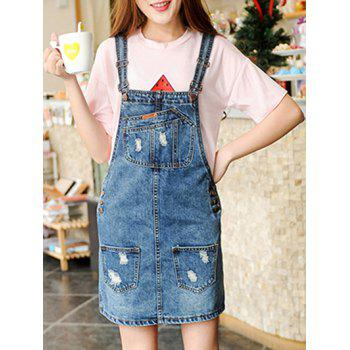 Preppy Women's Pocket Design Frayed Denim Suspender Dress