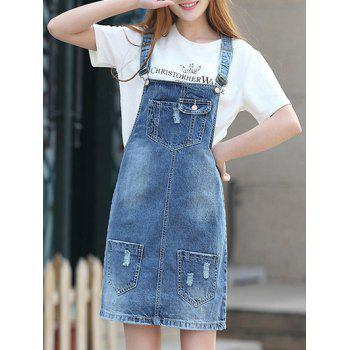 Trendy Women's Bleach Wash Pockets Design Denim Suspender Dress