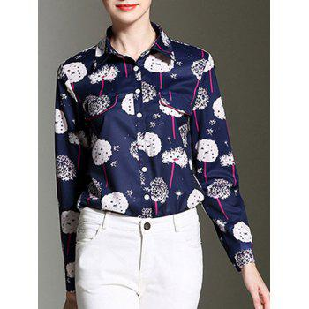 Elegant Women's Dandelion Print Long Sleeves Shirt