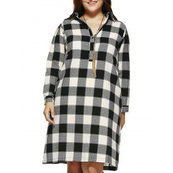 Brief Plus Size Plaid Print Long Shirt