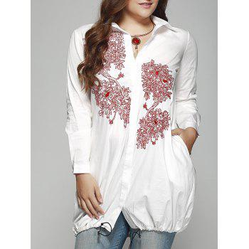 Ladylike Plus Size Embroidered Drawstring Hem Shirt