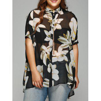 Buy Chic Plus Size Batwing Sleeve Floral Shirt BLACK