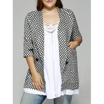 Oversized Shawl Collar Round Pattern Coat
