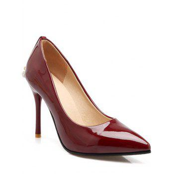 Buy Graceful Metal Rhinestones Design Women's Pumps WINE RED