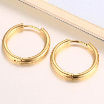 Pair of Middle Gold Plated Hoop Earrings - GOLDEN