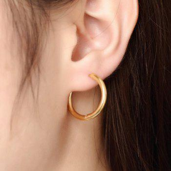 Pair of Middle Gold Plated Hoop Earrings
