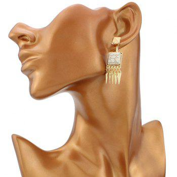 Pair of Square Shape Faux Stone Geometric Cone Fringed Earrings