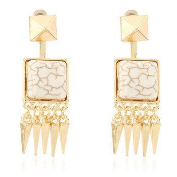 Pair of Square Shape Faux Stone Geometric Cone Fringed Earrings - WHITE GREY