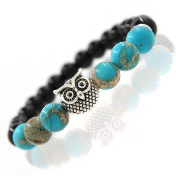 Buy Faux Turquoise Beads Owl Charm Bracelet SILVER