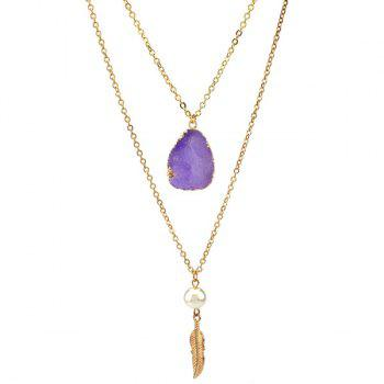 Double Layered Faux Crystal Teardrop Feather Pendant Necklace