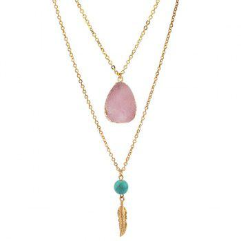 Layered Teardrop Faux Crystal Bead Pendant Necklace