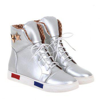 Trendy PU Leather and Pentagrams Design Women's Short Boots - SILVER 39