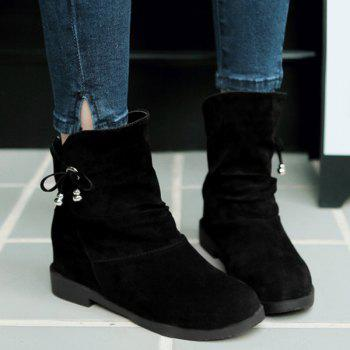 Fashionable Solid Color and Increased Internal Design Women's Short Boots - BLACK 39