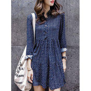 Long Sleeve Printed Stand Collar Dress