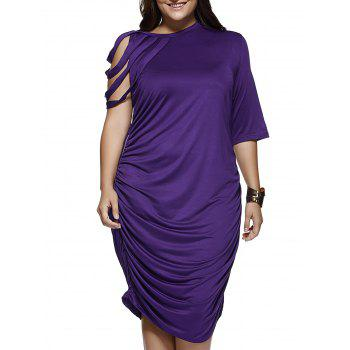 Elegant Strappy Sleeve Pure Color Baggy Dress