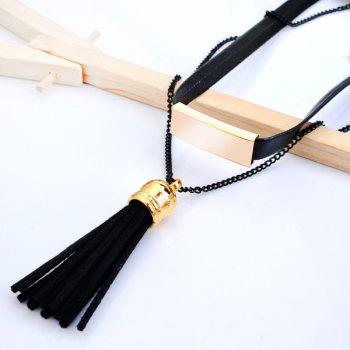 Faux Leather Tassel Pendant Choker - BLACK