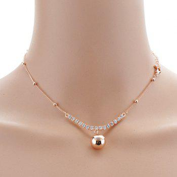 Rhinestoned Alloy Ball Choker Necklace