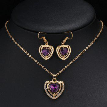 Fake Amethyst Hollowed Heart Wedding Jewelry Set