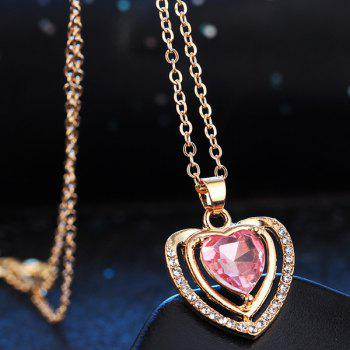 Fake Amethyst Hollowed Heart Wedding Jewelry Set - PINK