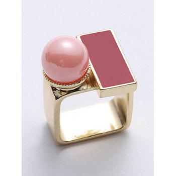 Faux Pearl Rectangle Ring - GOLDEN ONE-SIZE