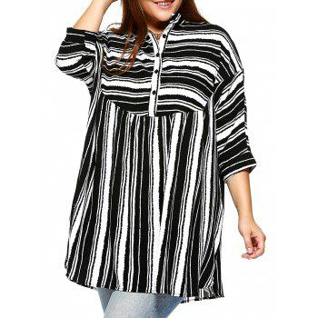 Trendy Plus Size Striped Batwing Sleeve Blouse