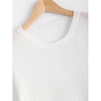 Simple High Low Pure Color Knitted Sweater - WHITE ONE SIZE