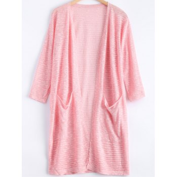 Simple Candy Pure Color Pocket Semi Sheer Long Cardigan