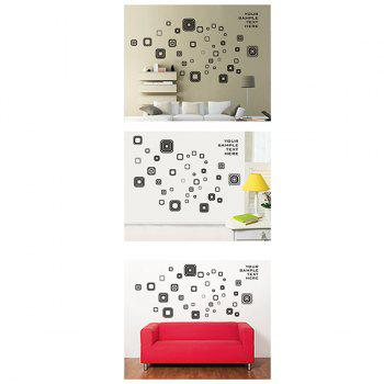 Fashion Square Removable Bedroom Wall Stickers - BLACK/GREY