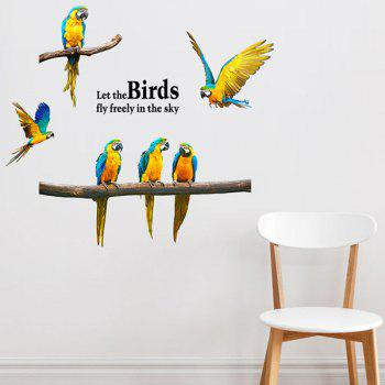 Removable Waterproof Macaw Animal Wall Stickers - COLORMIX