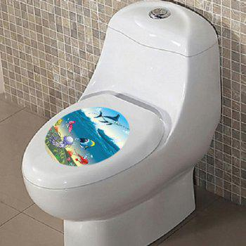 Colorful Cartoon Marine Life Waterproof Toilet Wall Stickers - COLORMIX