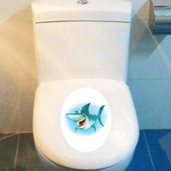 Cartoon Shark Waterproof Toilet Wall Stickers - COLORMIX