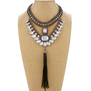 Faux Crystal Rhinestone Tassel Necklace
