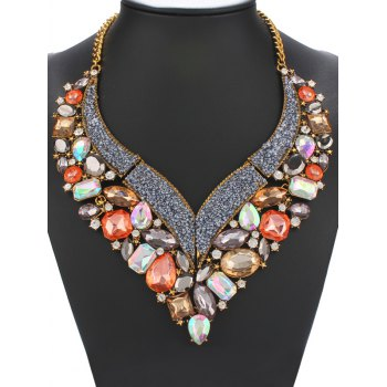 Geometric Faux Crystal Beads Heart Necklace