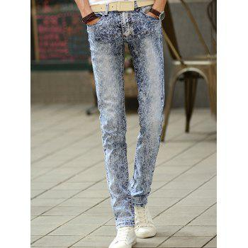 Fashionable Snow Wash Slim-Fit Jeans For Men
