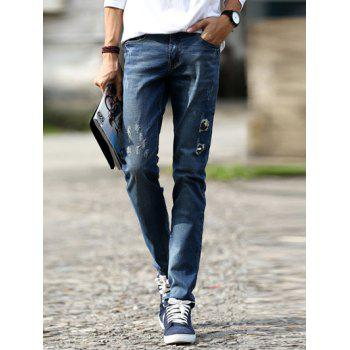 Distressed Design Mid-Wash Slim-Fit Destroyed Jeans For Men