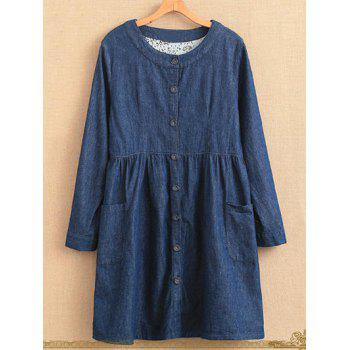 Plus Size Single Breasted Long Sleeve Denim Dress