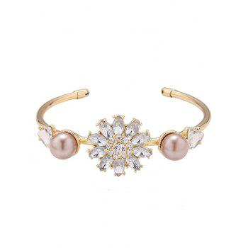 Faux Crystal Flower Triangle Bracelet