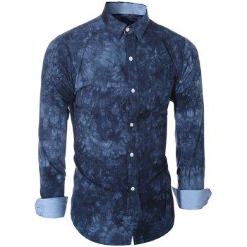 Turn-Down Collar Long Sleeve Ethnic Tie-Dyed Shirt For Men