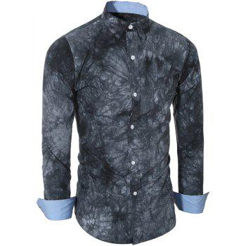 Buy Turn-Down Collar Long Sleeve Ethnic Tie-Dyed Shirt Men DEEP GRAY
