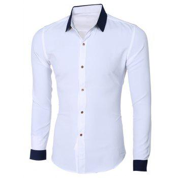Fashion Hit Color Turn-Down Collar Long Sleeves Shirt For Men - WHITE 2XL