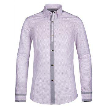 Polka Dot Splicing Turn-down Collar Men's Long Sleeve Shirt