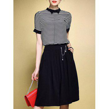 Brief Women's Striped T-Shirt and Wide-Leg Pants Twinset